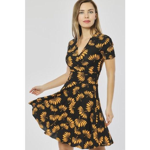 a4504f0ed5d40 Bianco Lucci Kadın Sarı Çiçekler Desen Siyah Kruvaze Yaka Elbise 2441060 -  Glami.com.tr