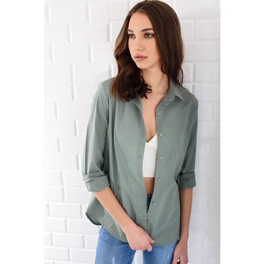 9e4edf01fe6e2 Trend: Alaçatı Stili Kadın Açık Yeşil Keten Basıc Gömlek MGZ-4020 -  Glami.com.tr